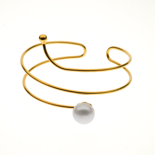 Albany Cuff | 925 Sterling Silver | 1 Micron of 24K Yellow Gold Plated | Freshwater Pearl | Open Irregular Spiral Bangle and Freshwater Pearl End Caps | Harper Lane Jewellery
