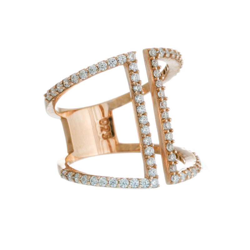 Ally Ring | 925 Sterling Silver | 14K Rose Gold Plating | Cubic Zirconia | Rose Gold Edgy Cubic Zirconia Ring | Harper Lane Jewellery