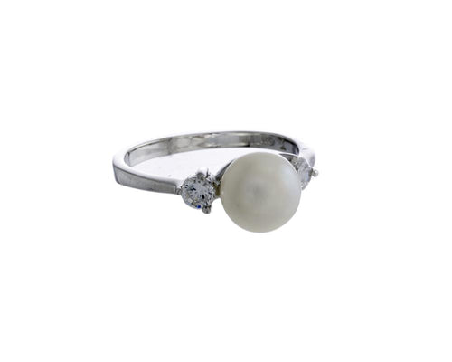 Arwen Ring | 925 Sterling Silver | Rhodium Plating | White Freshwater Pearl and Cubic Zirconia | Silver Freshwater pearl And Cubic Zirconia Ring | Harper Lane Jewellery