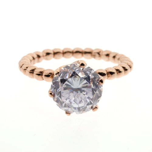 Birdie Ring | 925 Sterling Silver | 1 Micron of 24K Rose Gold Plated | Cubic Zirconia | Band With Rose Gold With Cubic Zirconia Stone At The Middle | Harper Lane Jewellery