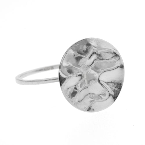 Camilla Ring | 925 Sterling Silver | Rhodium Plated | Round Crumpled Shaped | Harper Lane Jewellery
