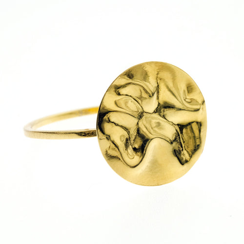 Camilla Ring | 925 Sterling Silver | 1 Micron of 18K Yellow Gold Plated | Round Crumpled Shaped | Harper Lane Jewellery