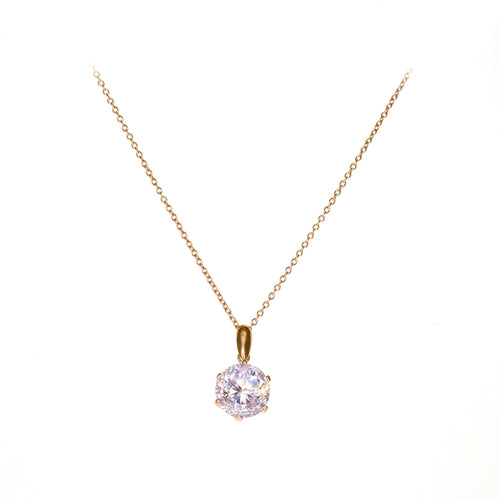 Clementina Necklace | 925 Sterling Silver | 1 Micron of 24K Yellow Gold Plated | Cubic Zirconia | Cubic Zirconia Stone Pendant | Harper Lane Jewellery