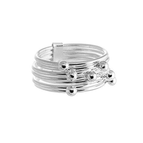 Delta Ring | 925 Sterling Silver | Rhodium Plated | Seven Band Ring With Silver Balls At The Top | Harper Lane Jewellery
