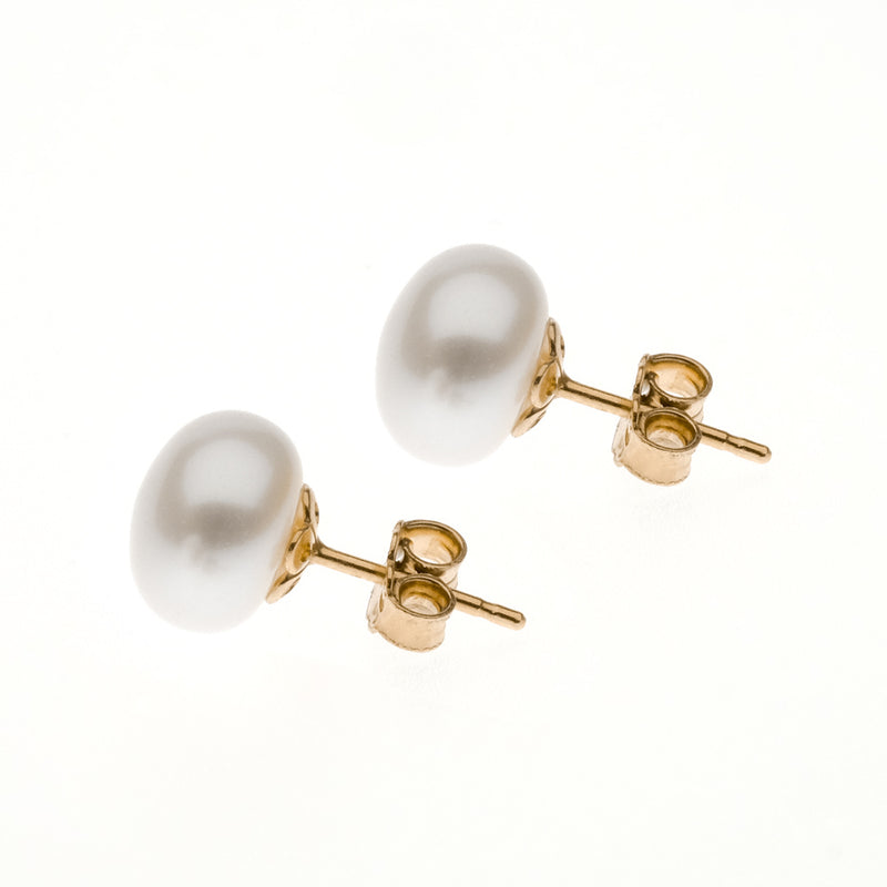 Eleonora Studs | 925 Sterling Silver | 1 Micron of 24K Yellow Gold Plated | Freshwater Pearl | White Shiny Pearl | Harper Lane Jewellery