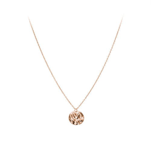Lamara Necklace | 925 Sterling Silver | 1 Micron of 18K Rose Gold Plated | Round Crumpled Shaped Pendant | Harper Lane Jewellery