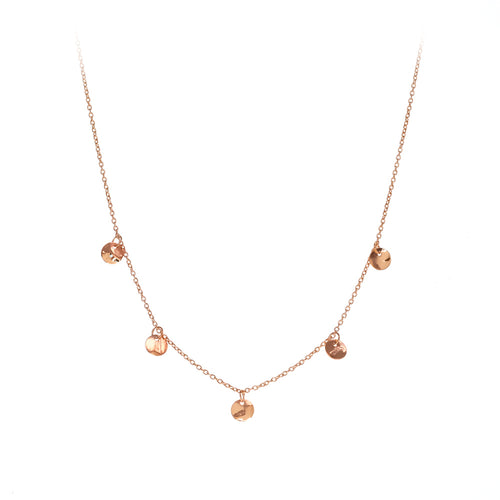 Finn Necklace | 925 Sterling Silver | 1 Micron of 18K Rose Gold Plated | Five Round Crumpled Shaped Pendant | Harper Lane Jewellery