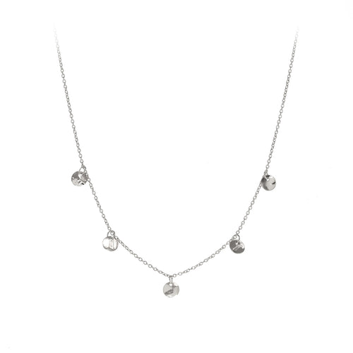 Finn Necklace | 925 Sterling Silver | Rhodium Plated | Five Round Crumpled Shaped Pendant | Harper Lane Jewellery