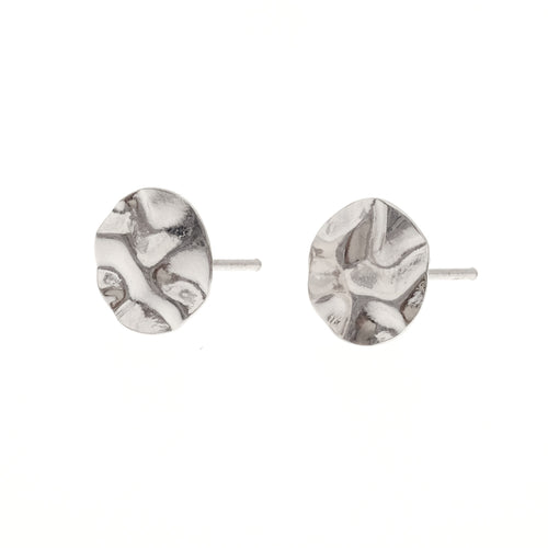 Fleur Studs | 925 Sterling Silver | Rhodium Plated | Round Crumpled Shaped | Harper Lane Jewellery