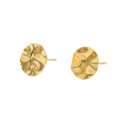Fleur Studs | 925 Sterling Silver | 1 Micron of 18K Yellow Gold Plated | Round Crumpled Shaped | Harper Lane Jewellery