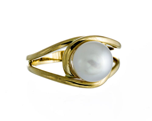 Lena Ring | 9K Yellow Gold | White South Sea Pearl | Yellow Gold Pearl Ring | Harper Lane Jewellery