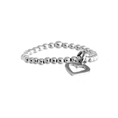 Love Ring | 925 Sterling Silver | Rhodium Plated | Band With Silver Balls With Heart Hanged | Harper Lane Jewellery