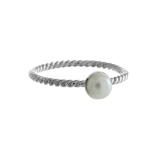 Lula Ring | 925 Sterling Silver | Rhodium Plated | Freshwater Pearl | Band With Twisted Sterling Silver With Freshwater Pearl At The Top | Harper Lane Jewellery