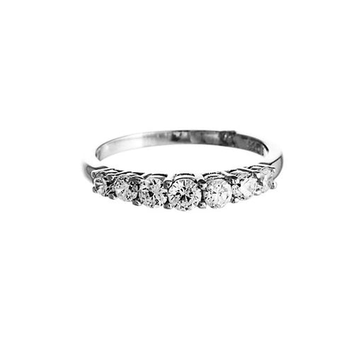 Lyre Ring | 925 Sterling Silver | Rhodium Plated | Clear Cubic Zirconia | Seven Cubic Zirconia Stones At The Top | Harper Lane Jewellery
