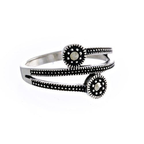 Mackenna Ring | 925 Sterling Silver | Rhodium Plated | Marcasite | Three Banded With Two Circle Shaped Filled With Marcasite Stones | Harper Lane Jewellery