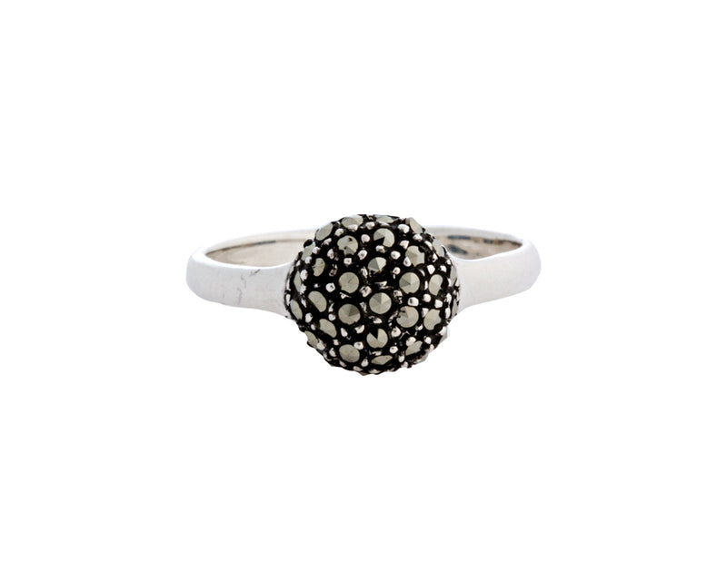 Makala Ring | 925 Sterling Silver | Rhodium Plated | Marcasite | Round Shaped Filled With Marcasite Stones | Harper Lane Jewellery