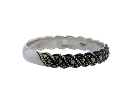 Malika Ring | 925 Sterling Silver | Rhodium Plated | Marcasite | Half Filled With Marcasite Stones | Harper Lane Jewellery