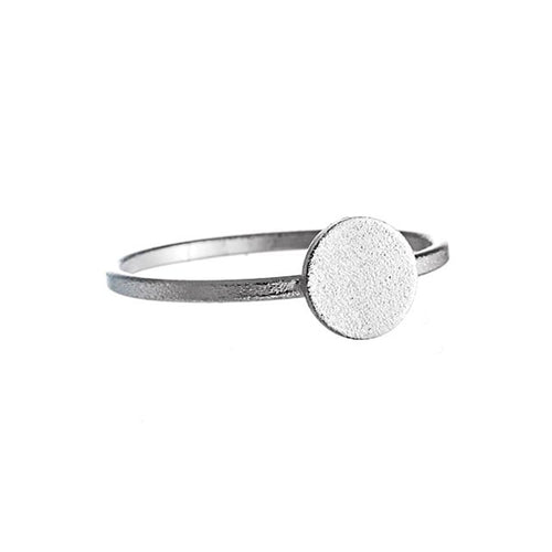 Moon Dance Ring | 925 Sterling Silver | Rhodium Plated | Petite Circle Textured Centre | Harper Lane Jewellery