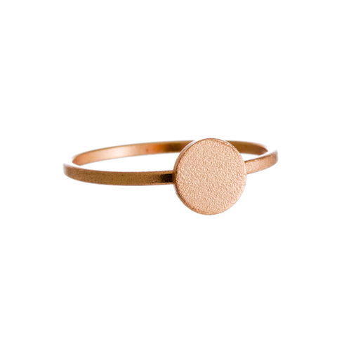 Moon Dance Ring | 925 Sterling Silver | 18K Yellow Gold Plated | Petite Circle Textured Centre | Harper Lane Jewellery