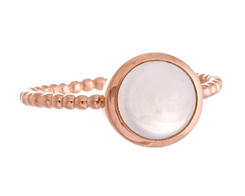 New Moon Ring | 925 Sterling Silver | 14K Rose Gold Plated | Moonstone | Petite Round Shaped Band | Harper Lane Jewellery
