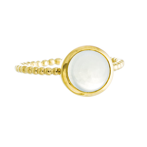 New Moon Ring | 925 Sterling Silver | 14K Yellow Gold Plated | Moonstone | Petite Round Shaped Band | Harper Lane Jewellery