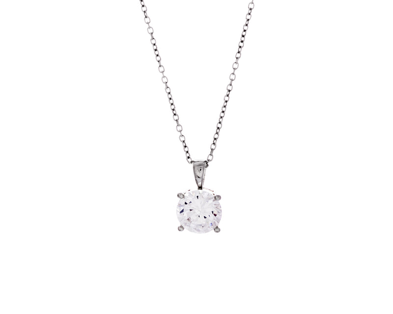 Noelle Necklace | 925 Sterling Silver | Rhodium Plating | Clear Cubic Zirconia | Silver Cubic Zirconia Pendant Necklace | Harper Lane Jewellery