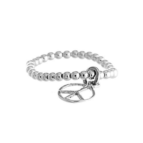 Peace Ring | 925 Sterling Silver | Rhodium Plated | Band With Silver Balls With Peace Symbol | Harper Lane Jewellery
