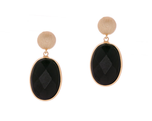 Raven Earrings | 925 Sterling Silver | 18K Yellow Gold Plated | Onyx | Oval Shaped Filled With Onyx Stone Dropped From Gold Stud | Harper Lane Jewellery