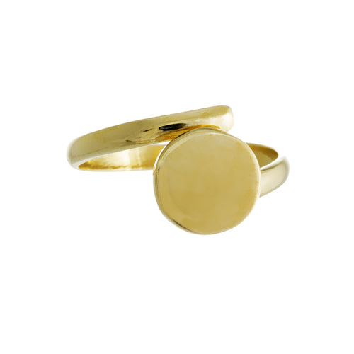 Sun Kissed Ring | 925 Sterling Silver | 14K Yellow Gold Plated | Round Disc Shaped At The Top | Harper Lane Jewellery