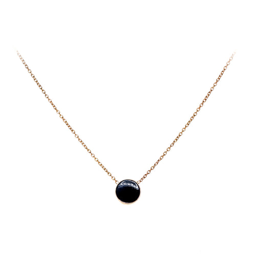 Tessie Necklace | 925 Sterling Silver | 1 Micron of 18K Rose Gold Plated | Black Enamel | Round Shaped Black Pendant | Harper Lane Jewellery