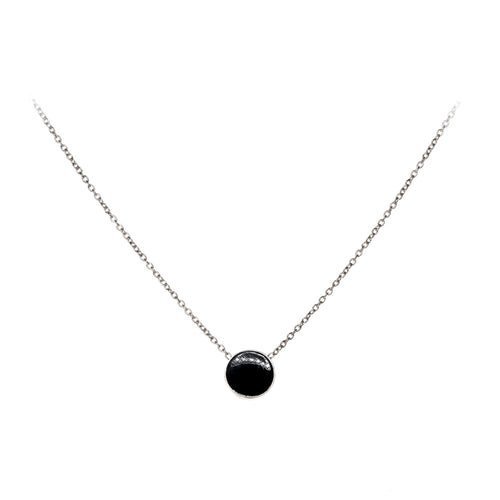 Tessie Necklace | 925 Sterling Silver | Rhodium Plated | Black Enamel | Round Shaped Black Pendant | Harper Lane Jewellery