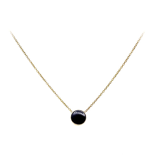 Tessie Necklace | 925 Sterling Silver | 1 Micron of 18K Yellow Gold Plated | Black Enamel | Round Shaped Black Pendant | Harper Lane Jewellery