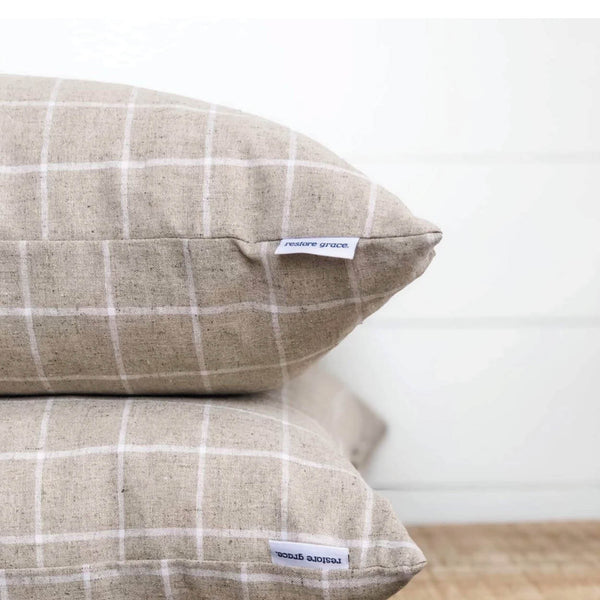 Natural Linen Check Cushion Cover