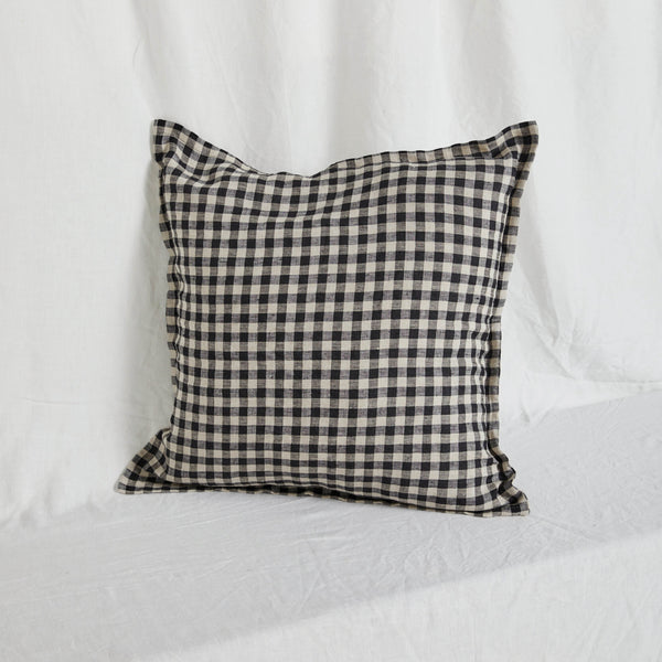 Black Gingham Linen Cushion Cover