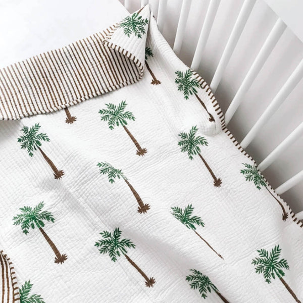 Cot Quilt - Green Palm Reverse Stripe