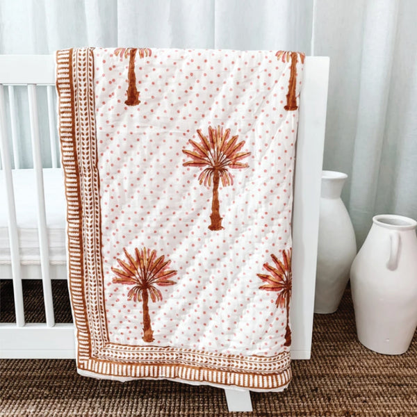 Cot Quilt - Pink + Yellow Spotty Palm