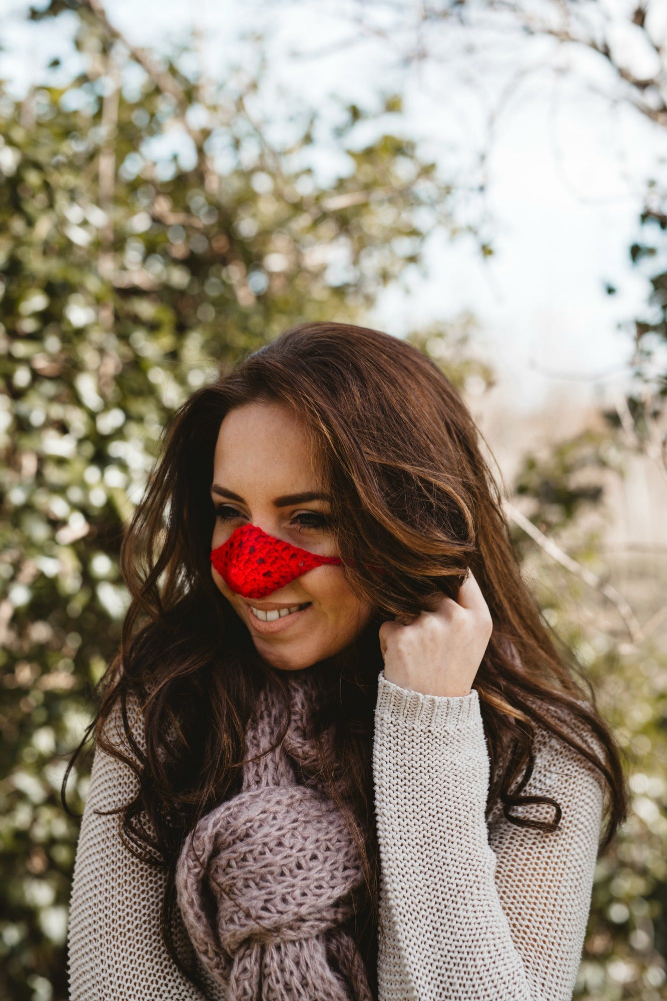 Red Wool Nose Warmer