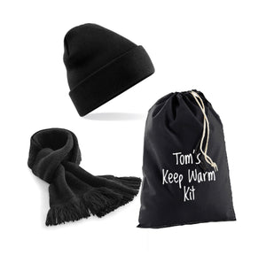 Black Keep Warm Kit: Beanie Hat, Classic Scarf & Personalised Gift Bag
