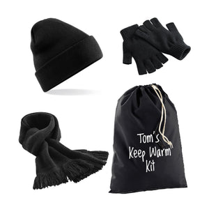 Black Keep Warm Kit: Beanie Hat, Classic Scarf, Fingerless Gloves & Personalised Gift Bag