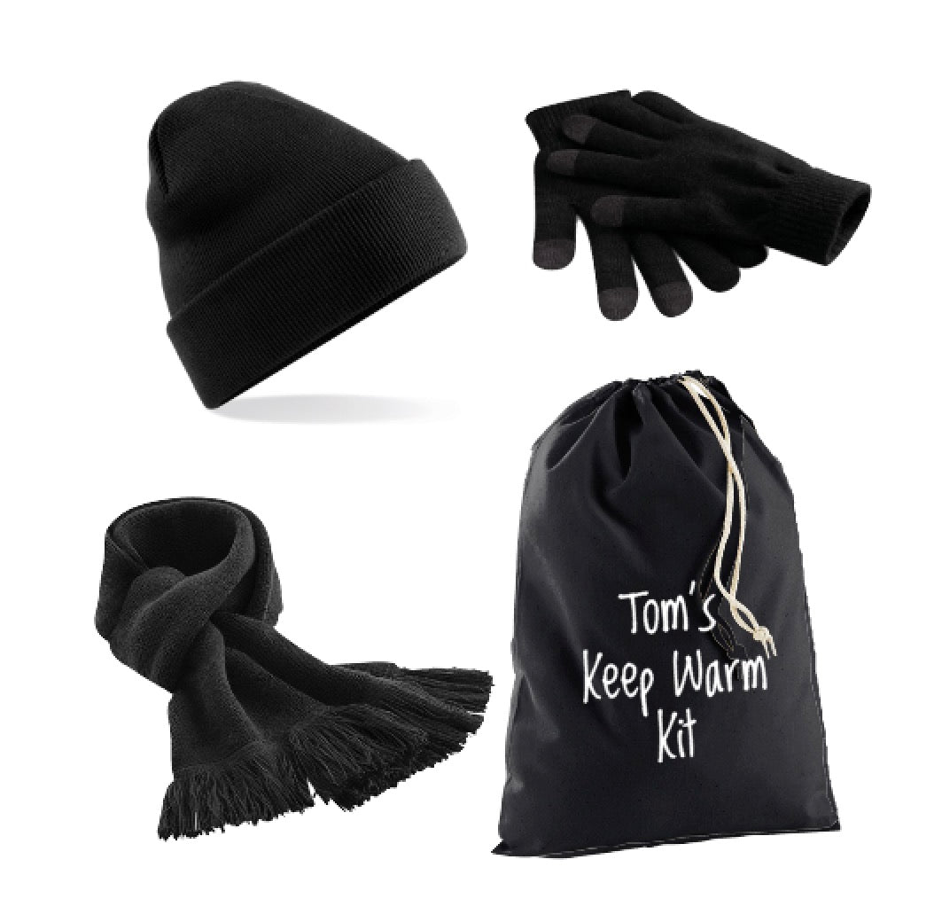 Black Keep Warm Kit: Beanie Hat, Classic Scarf, Smart Gloves & Personalised Gift Bag