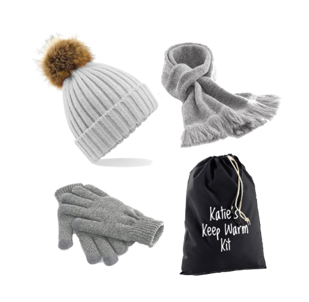Grey Keep Warm Kit: Pompom Hat, Classic Scarf, Smart Gloves & Personalised Gift Bag