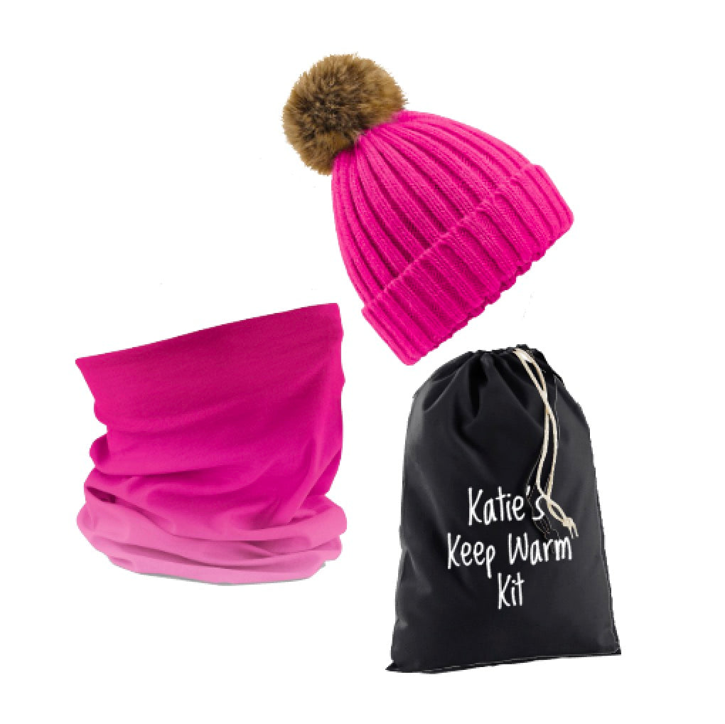 Personalised Hot Pink Keep Warm Kit: Pompom Hat, Ombré Snood & Personalised Gift Bag