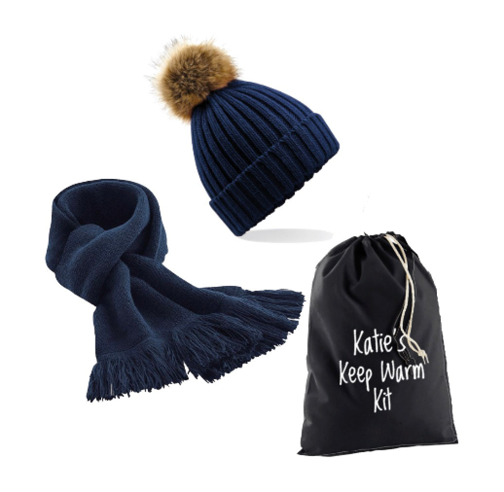 Personalised Navy Blue Keep Warm Kit: Pompom Hat, Classic Navy Scarf & Personalised Gift Bag