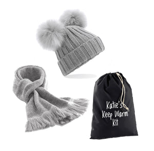 Personalised Grey Keep Warm Kit: Double Pompom Hat, Classic Grey Scarf & Personalised Gift Bag