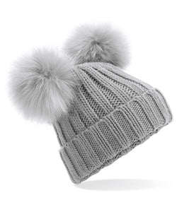 Grey Faux Fur Double Pompom Hat