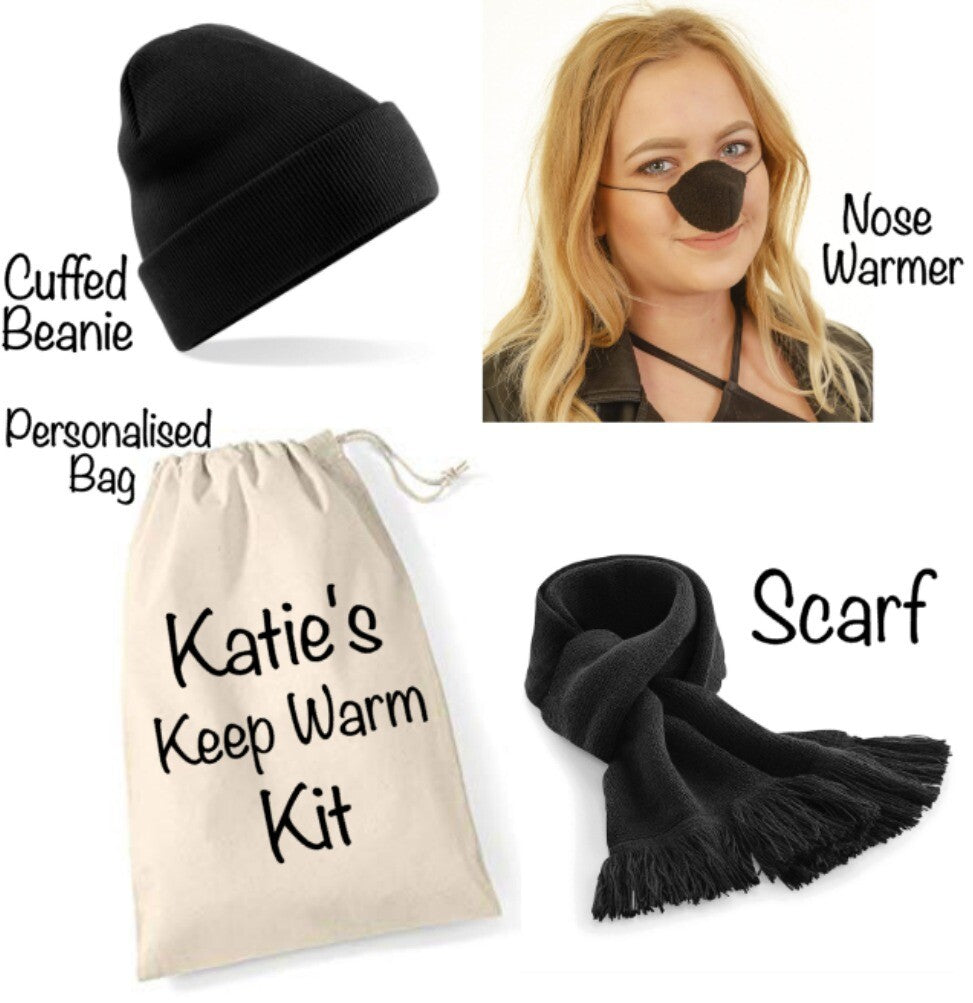 Personalised Black Keep Warm Kit: Black Nose Warmer, Beanie Hat, Black Scarf & Personalised Gift Bag