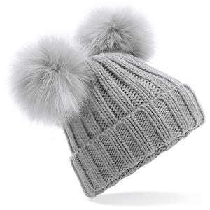 Children's Grey Faux Fur Double Pompom Hat
