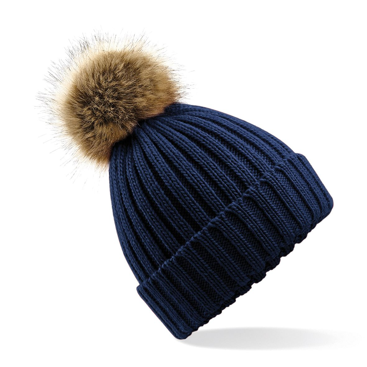 Navy Faux Fur Pompom Hat