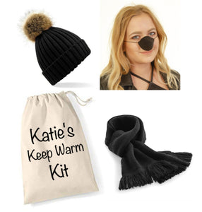 Personalised Black Keep Warm Kit: Black Nose Warmer, Pompom Hat, Black Scarf & Personalised Gift Bag