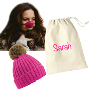 Personalised Hot Pink Keep Warm Kit: Hot Pink Fleece Nose Warmer, Pompom Hat & Personalised Gift Bag